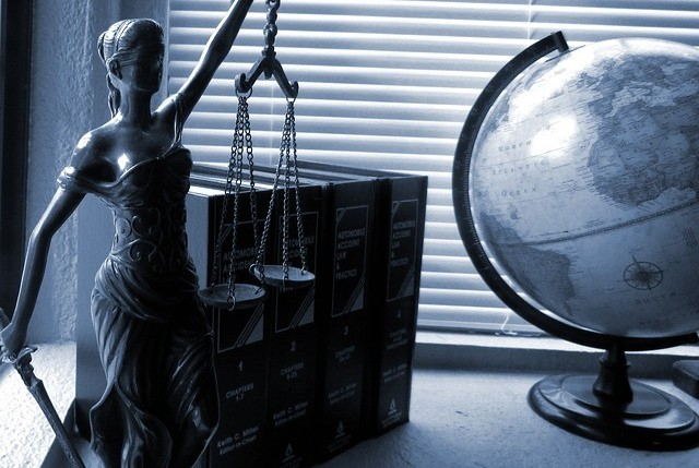 commercial lawyers in Lithuania, books, globe, lady justice